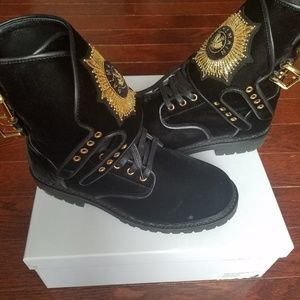 Balmain velvet combat boots